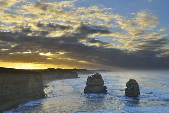 Limestone Stacks in Morning, The Twelve Apostles, Princetown, Great Ocean Road, Victoria, Australia