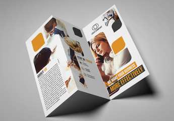 Trifold Brochure Layout with Rounded Rectangles