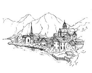 Vector Illustration of Scenic picture-postcard view of famous Hallstatt mountain village with Hallstaetter Lake in the Austrian Alps, region of Salzkammergut, Austria.Sketch