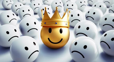 Goldener Smiley mit Krone in Gruppe 1