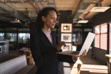 Businesswoman standing and using laptop