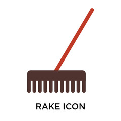 Rake icon vector sign and symbol isolated on white background, Rake logo concept