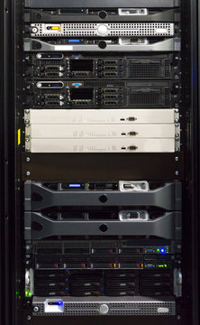 Detail of servers in a rack at a data center