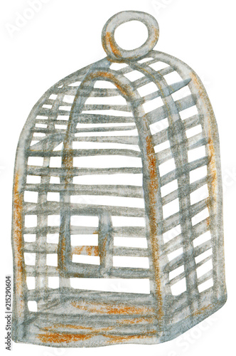 Rusty bird cage Illustration  Hand drawn with acrylic paint