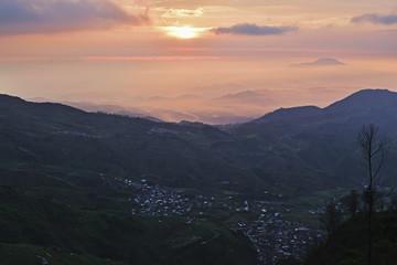 View from Gunung Sikunir of Dieng Plateau at Sunrise, Java, Indonesia