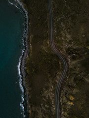 Aerial photo of a road along the coast