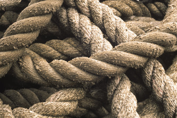 Foto op Plexiglas Texturen Close-up of rope used for a tug boat towline, coiled on deck, USA