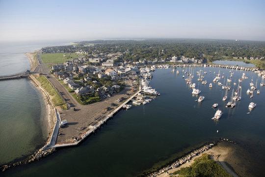 Aerial View of Oak Bluffs, Martha's Vineyard, Massachusetts, USA