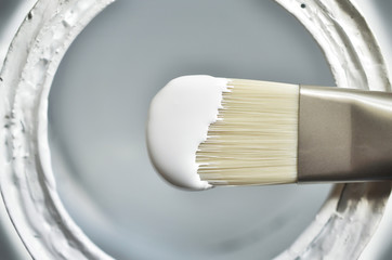 Close-up of paintbrush with white paint