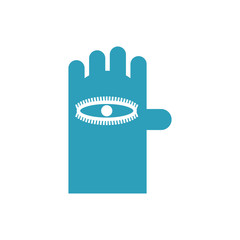 Eye on hand sign isolated. Vector illustration