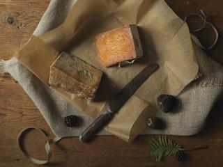 Overhead View of Cheeses, Studio Shot