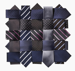 Ten ties braided on a white background