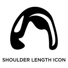 Shoulder length icon vector sign and symbol isolated on white background, Shoulder length logo concept