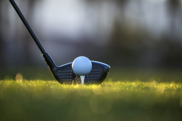 Close-up of Golf Ball on Tee with Driver