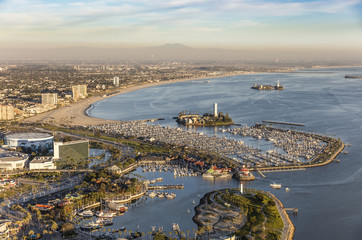 Aerial View of Long Island Beach, with Island Grissom and Island White in San Pedro Bay, California, USA