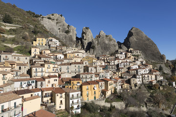 Scenic view of Castelmezzano, (famous for the Flight of the Angel zipwire ride over the valley), Basilicata, Italy
