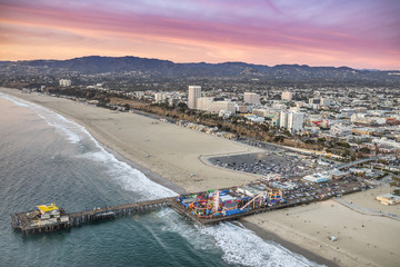 Aerial View of Santa Monica Pier and Beach, Santa Monica, California, USA