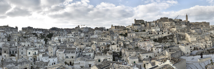 Panoramic view of ancient, Sassi di Matera, one of the three oldest cities in the world, Matera, Basilicata, Italy