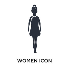 Women silhouette icon vector sign and symbol isolated on white background, Women silhouette logo concept