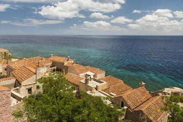 Tile Rooftops with Argolic Gulf in Monemvassia, Peloponnese, Greece