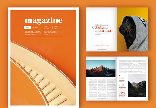 Magazine Layout with Orange Accents