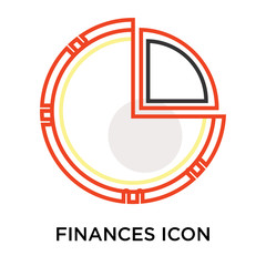 Finances icon vector sign and symbol isolated on white background, Finances logo concept
