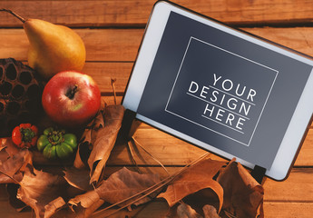 Tablet by Fall Leaves Mockup