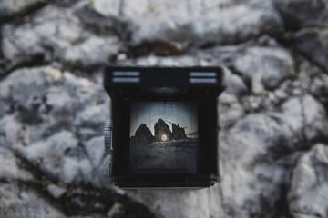 Three peaks of Lavaredo seen through the viewfinder