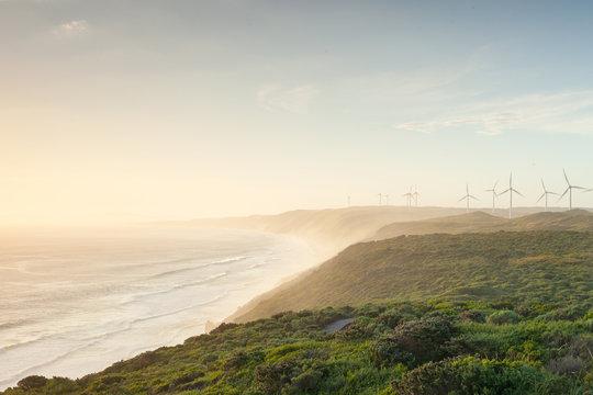 Wind turbines on coastline
