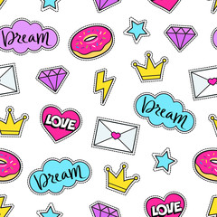 Cute modern girly seamless colorful pattern of fashion patches: crown, diamond, love letter, heart, donut, star, cloud, lightning. Background of cartoon stickers and patches. Vector illustration