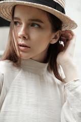 portrait of a cute girl in a close-up hat