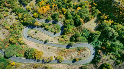 Aerial view of mountain road in autumn
