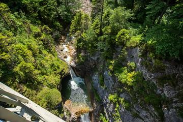 Beautiful mountain waterfall in the Bavarian Alps