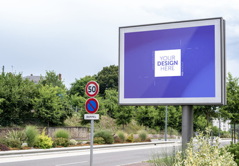 Billboard on Highway Mockup