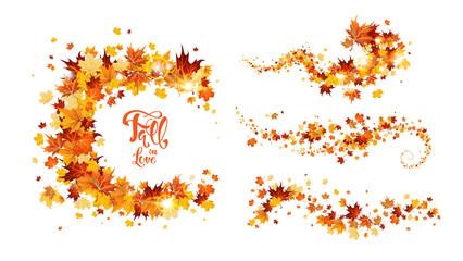 Wall Mural - Autumn leaves swirl