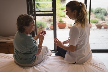 Physiotherapist discussing with a senior woman