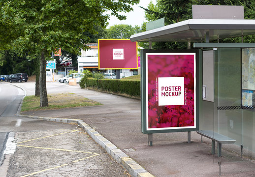 Bus Stop Kiosk and Billboard Mockup