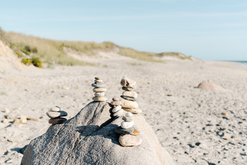 rocks stacked up at the beach