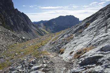 Hiking trail through barren mountain landscape, North Cascades, Washington