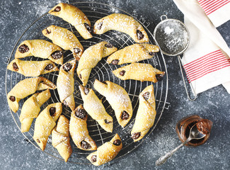 Rugelach with chocolate filling.