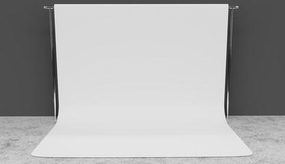White screen background studio setup realistic 3D render.