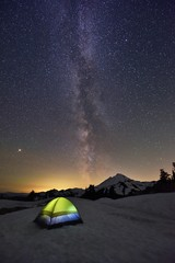 Milky Way, Mars and Mount Baker