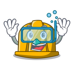 Diving construction helmet character cartoon
