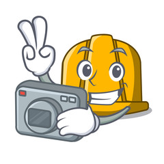 Photographer construction helmet mascot cartoon