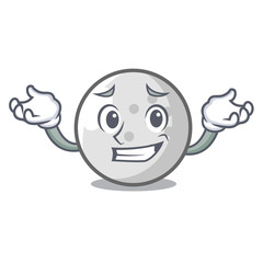 Grinning golf ball character cartoon