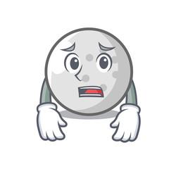 Afraid golf ball mascot cartoon