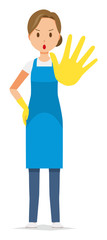 A woman wearing a blue apron and rubber gloves is stop gesture - fototapety na wymiar