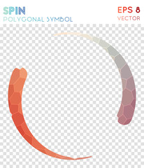 Spin polygonal symbol. Beauteous mosaic style symbol. Neat low poly style. Modern design. Spin icon for infographics or presentation.