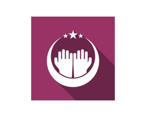 prayer hand islam muslim religion spirituality religious image vector icon
