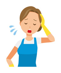 Women who are wearing blue apron and rubber gloves is tired